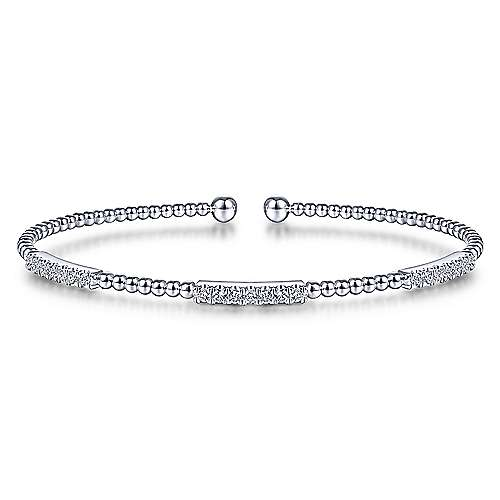 Gabriel & Co Diamond Bujukan Bead Cuff Bracelet In 14 Karat White Gold