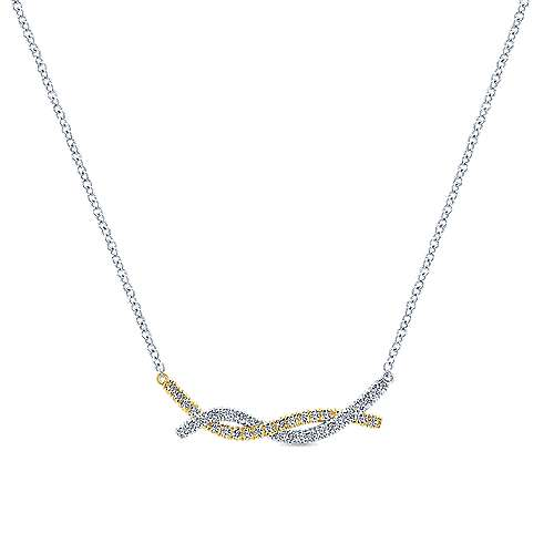 Classy Gabriel & Co. 14K Yellow-White Gold Twisted Diamond Bar Necklace (0.26ct Carat Diamond Weight)