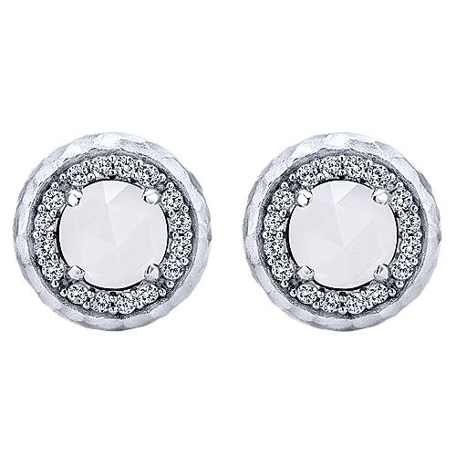Blazing Gabriel & Co. 925 Sterling Silver Rock Crystal/White Agate and White Sapphire Stud Earrings