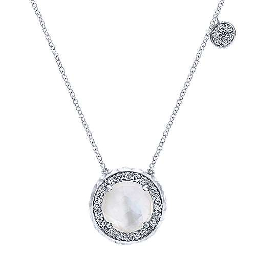 Alight Gabriel & Co. 925 Sterling Silver Round Rock Crystal and White Sapphire Pendant Necklace