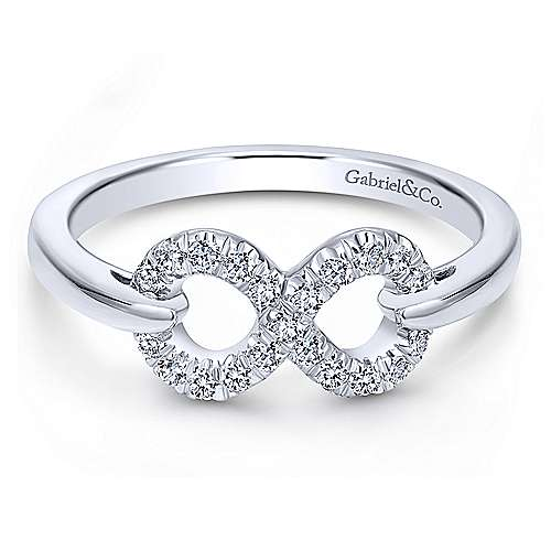 Ablaze Gabriel & Co. 925ct Sterling Silver White Sapphire Infinity Ring