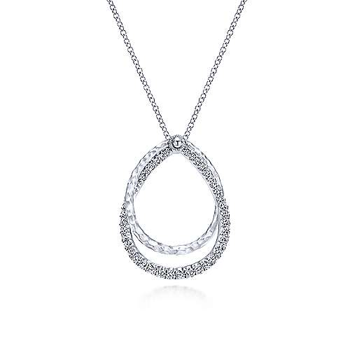 Aglow Gabriel & Co. 925 Sterling Silver White Sapphire Layered Double Teardrop Necklace