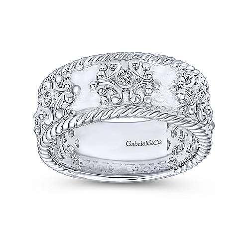 Chic Gabriel & Co. 925 Sterling Silver Wide Band Ring with Twisted Rope and Diamond Accents