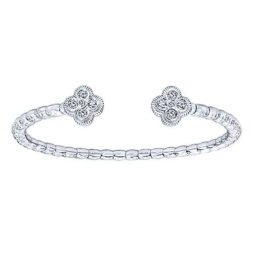 Bright Gabriel & Co. 925 Sterling Silver and Stainless Steel White Sapphire Quatrefoil Bangle