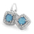 Gorgeous Sterling Silver Rock Crystal Turquoise White Sapphire Drop Earrings