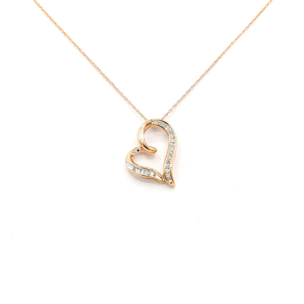 Fine 10K Rose Gold Heart Diamond Pendant (0.10ct Carat Diamond Weight)