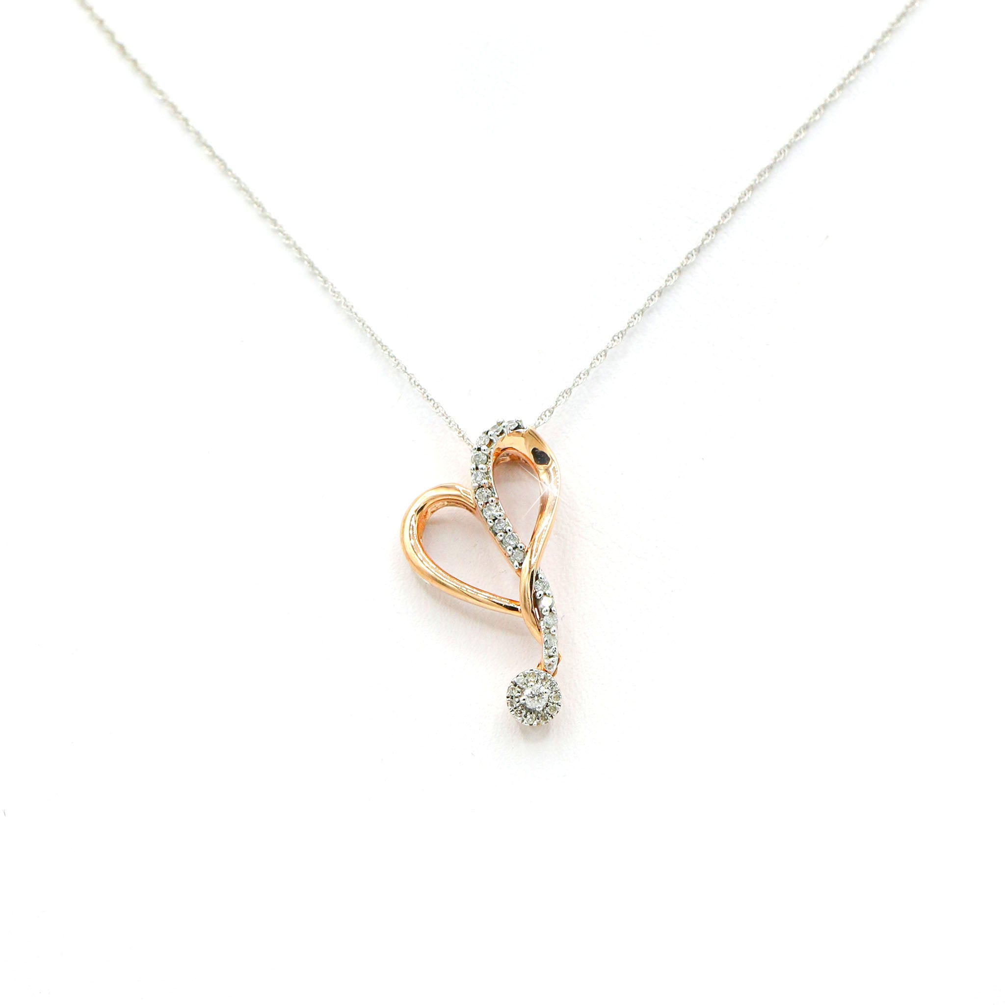 Gorgeous 10K Rose Gold Heart Drop Diamond Pendant (0.17ct Carat Diamond Weight)