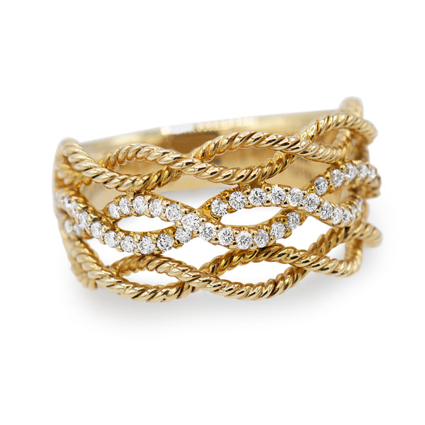 Diamond Rope Band Ring In 14 Karat Rose Gold ( 0.39ct dtw )