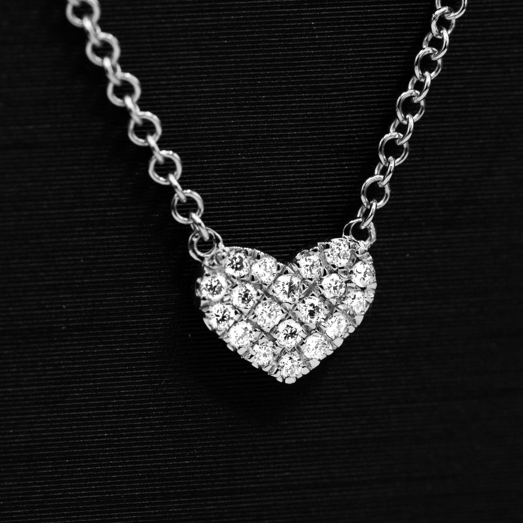 Adoring 14K White Gold Diamond Heart Eternal Love Pendant Necklace with 17.5