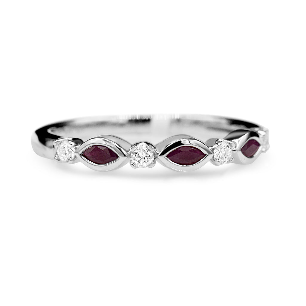 Brilliant 10K White Gold Marquise Ruby Diamond Band (0.30ct/0.14ct Carat Diamond Weight)