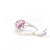 Involuted 10K White Gold Pink Sapphire Mom Heart Diamond Ring (0.005ct Carat Diamond Weight)