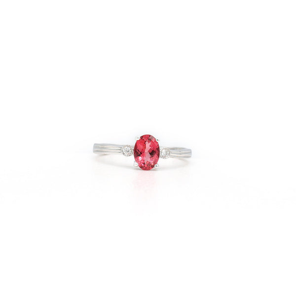 Aberrant 14K White Gold Oval Pink Tourmaline Diamond Ring (0.039ct Carat Diamond Weight)
