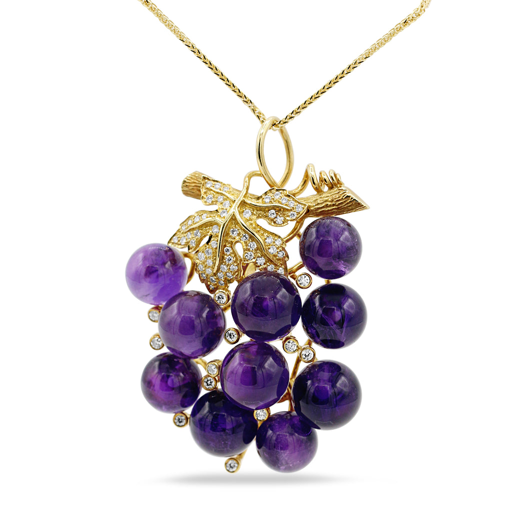Glamorous 18K Yellow Gold Amethyst Grape Nickel 14K Yellow Gold Chain Necklace (0.55ct Carat Diamond Weight)