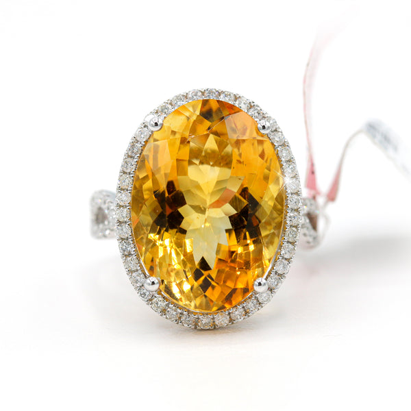 Diamond Oval Citrine Ring In 14 Karat White Gold ( 0.60ct dtw )