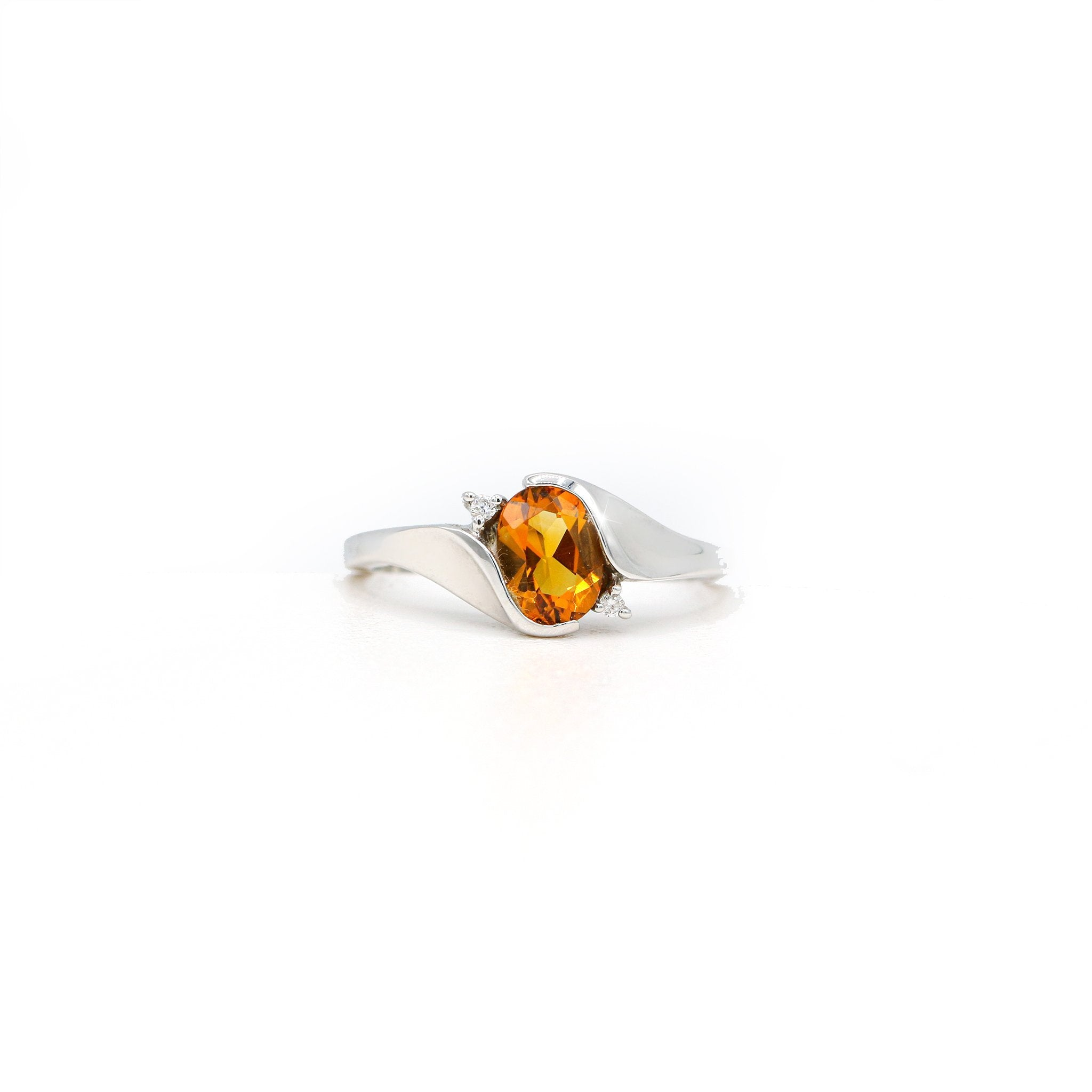 Assiduous 10K White Gold Oval Citrine Diamond Ring