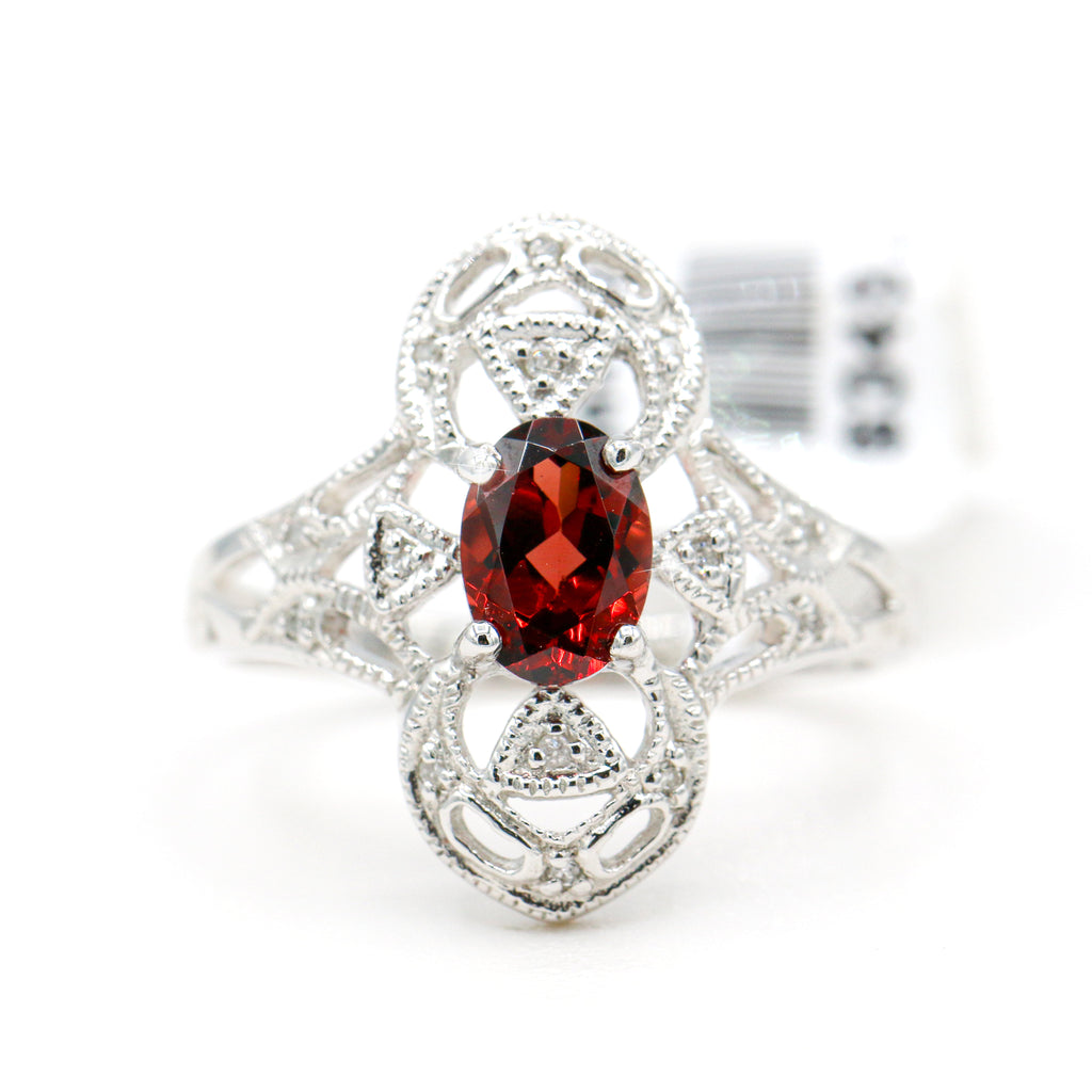 Ornamented 10K White Gold Oval Garnet Diamond Ring (0.05ct Carat Diamond Weight)