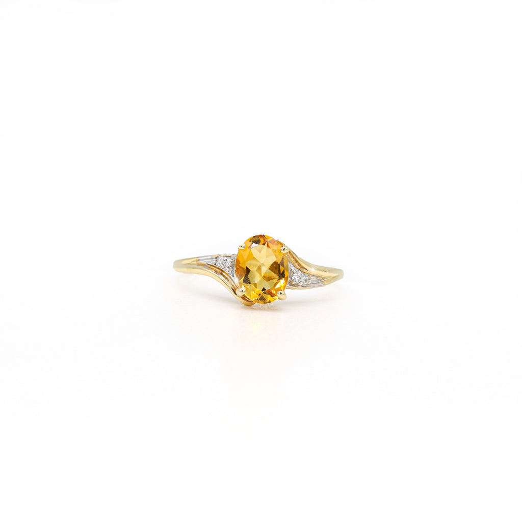 Meticulous 14K Yellow Gold Oval Citrine Accent Ring