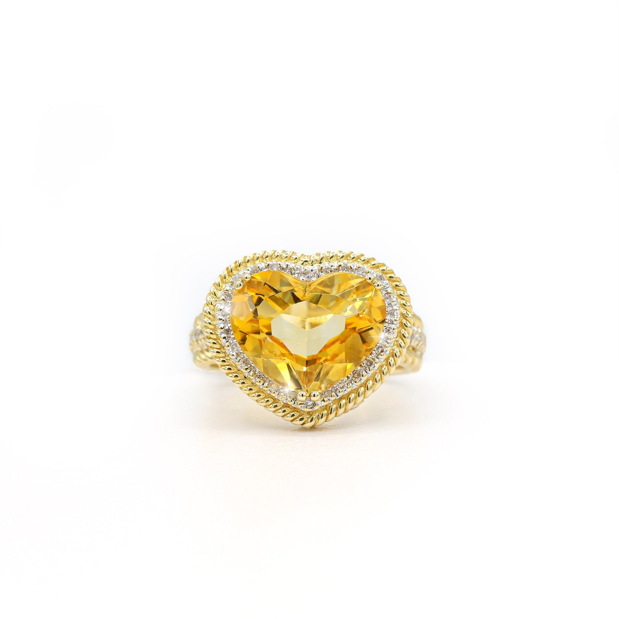 Adorned 14K Yellow Gold Heart Shaped Citrine Diamond Ring (0.18ct Carat Diamond Weight, 6.50ct Citrine Stone Weight)