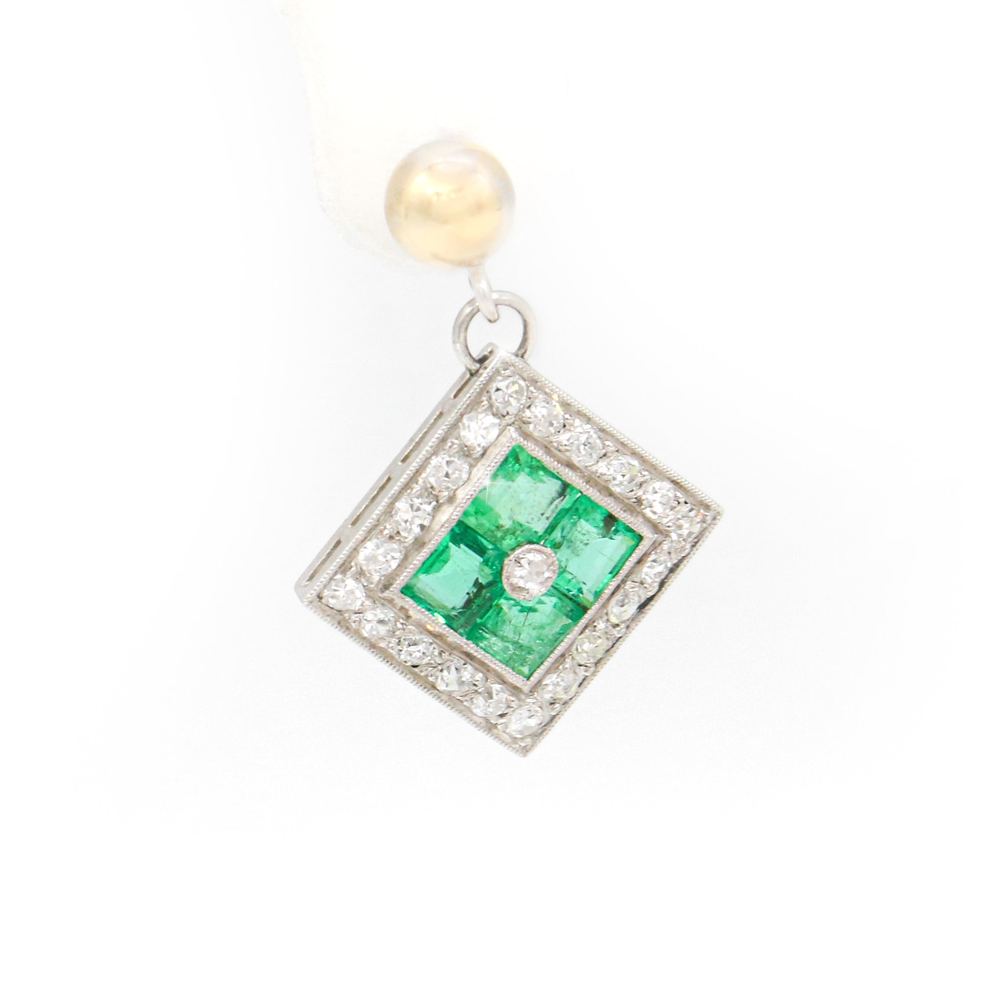 Shocking 14Kt Two-Tone Square Emerald Earrings with Round Diamond Earrings