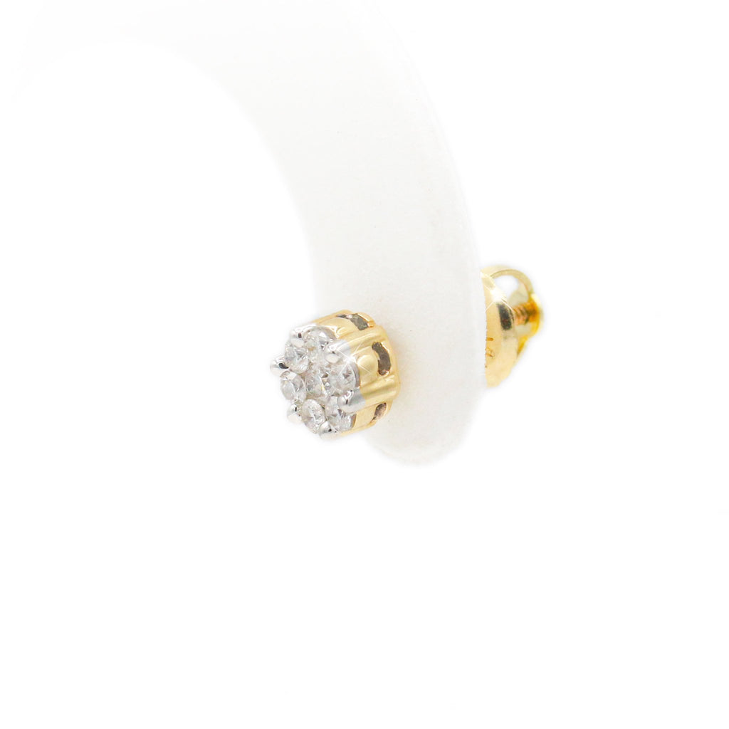 Stately 10K Yellow Gold Cluster Stud Diamond Earrings (0.25ct Carat Diamond Weight)