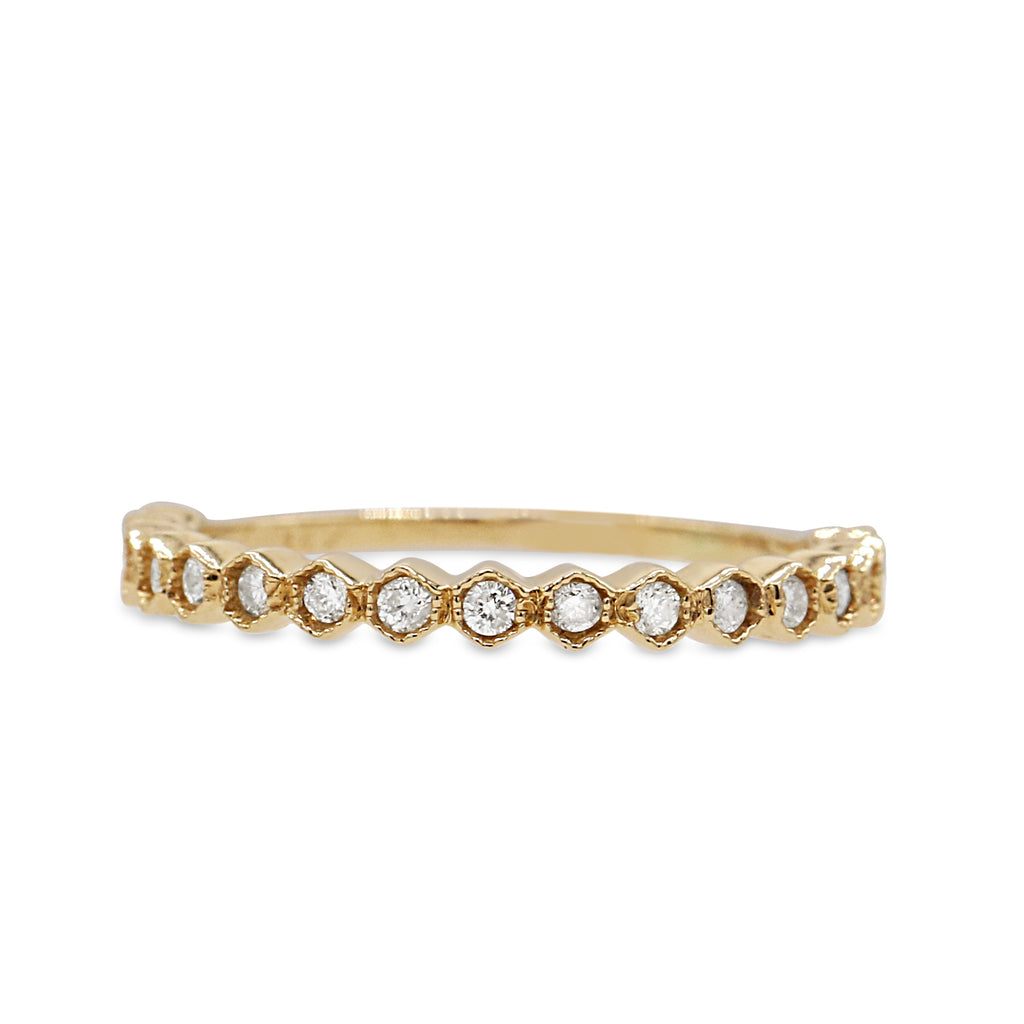 Brilliant 14K Yellow Gold Round Brilliant Cut Diamond Bead Band Ring (0.25ct Carat Diamond Weight)