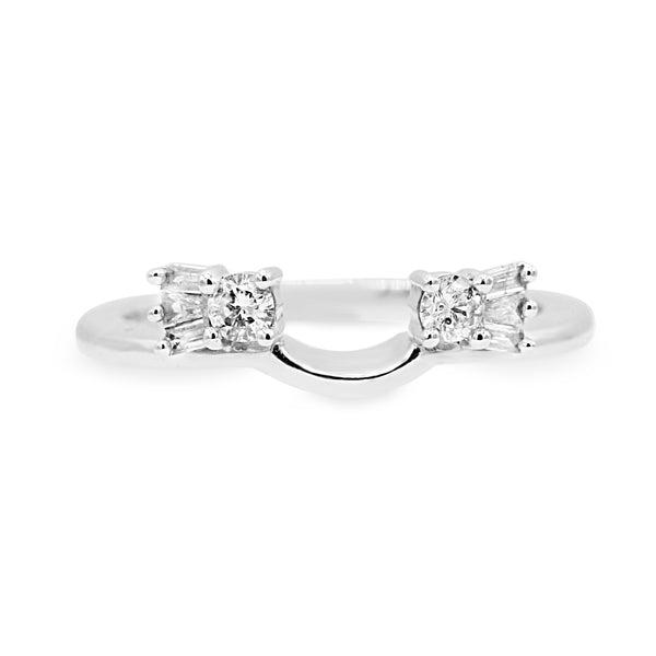 Elegant 14K White Gold Round Brilliant Cut Diamond Ring Enhancer (0.25ct Carat Diamond Weight)