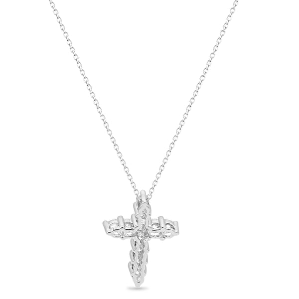 Diamond Cross Pendant In 14 Karat White Gold ( 0.50ct dtw )