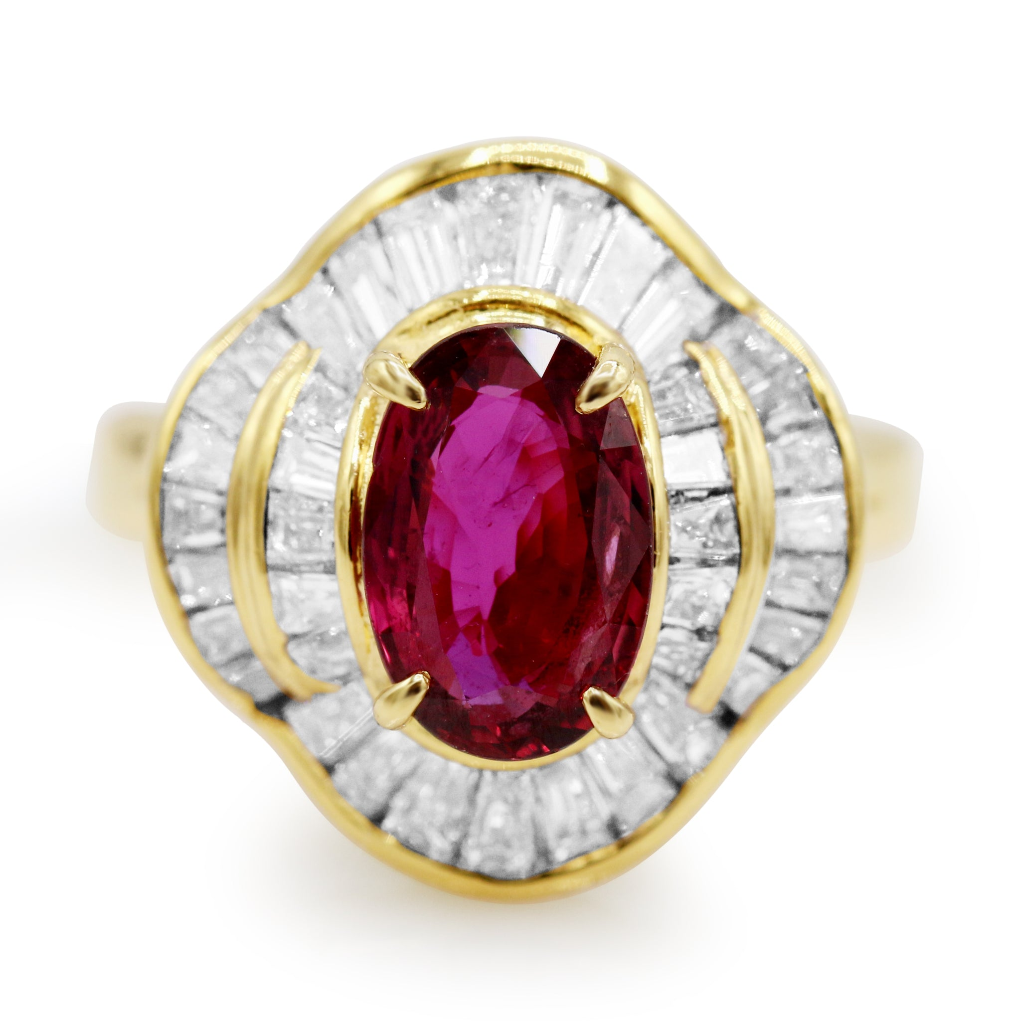 Flawless 18K Yellow Gold Ruby Diamond Ring