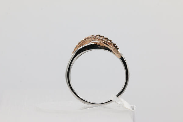 10K White & Rose Gold Wave Band with White and Chocolate Diamonds Ring