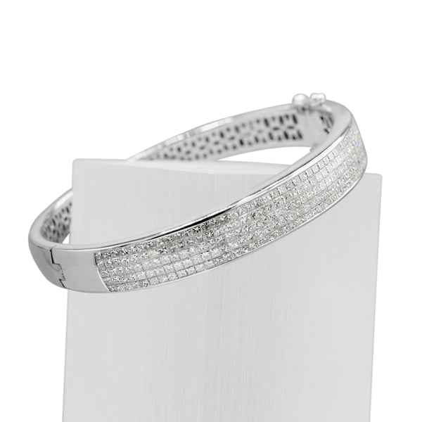 Diamond Princess Cut Bangle Bracelet In 18 Karat White Gold ( 5.00ct dtw )