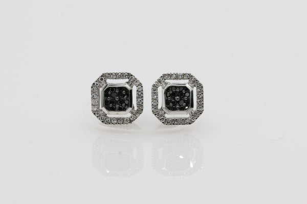 14K White Gold with 0.25ctw Black and White Diamond Octagon Earrings