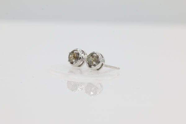 14K White Gold with 1/4ctw Round Chocolate Diamond Stud Earrings