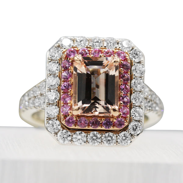 Diamond, Morganite, & Pink Sapphire Ring In 14 Karat White Gold ( 2.45ct Morg tw /1.28ct dtw )