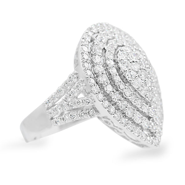 Diamond Cluster Pear Halo Ring In 18 Karat White Gold ( 2.85ct dtw )
