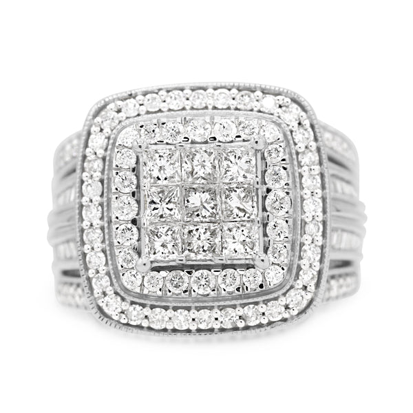 Diamond Cluster Princess Cut Ring In 10 Karat White Gold ( 2.00ct dtw )