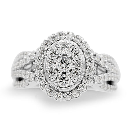 Gorgeous 14K White Gold Cluster Diamond Ring (1.5ct Carat Diamond Weight)