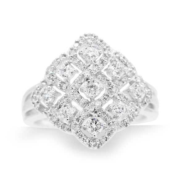 Gorgeous 14K White Gold Diamond Woven Pave Ring (0.09ct Carat Diamond Weight)