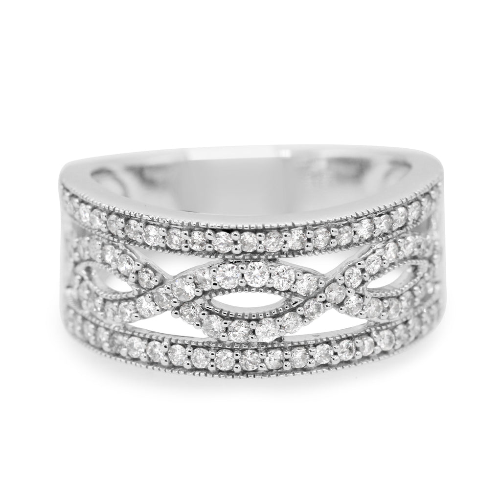 Exquisite 10K Gold Diamond Infinity Wedding Band (0.65ct Carat Diamond Weight)