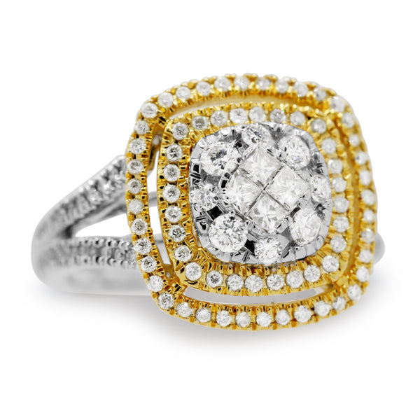 Diamond Double Halo Ring In 14 Karat Two Tone Gold ( 0.34ct nat yl dtw / 1ct tw rbc dia)