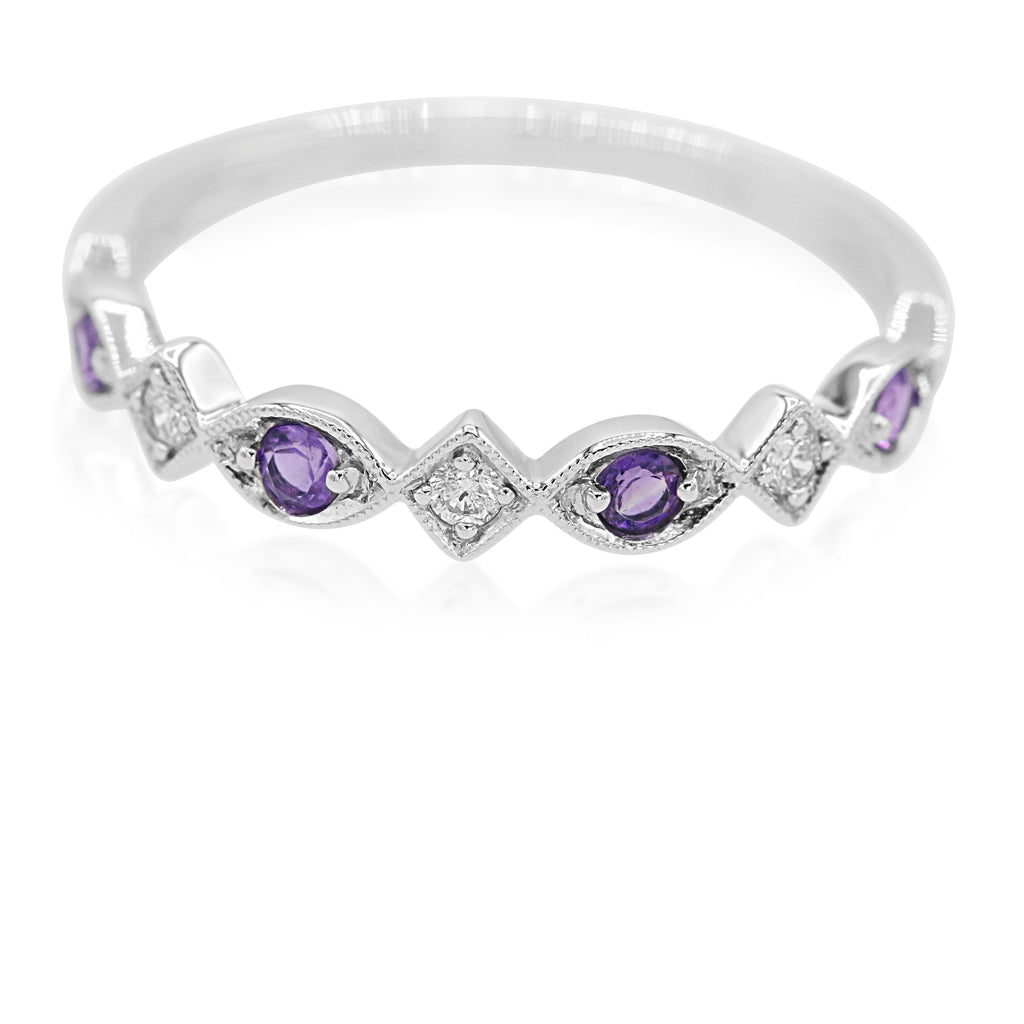 Delightful 10K White Gold Diamond Amethyst Stack Band (0.21ct/0.06ct Carat Diamond Weight)