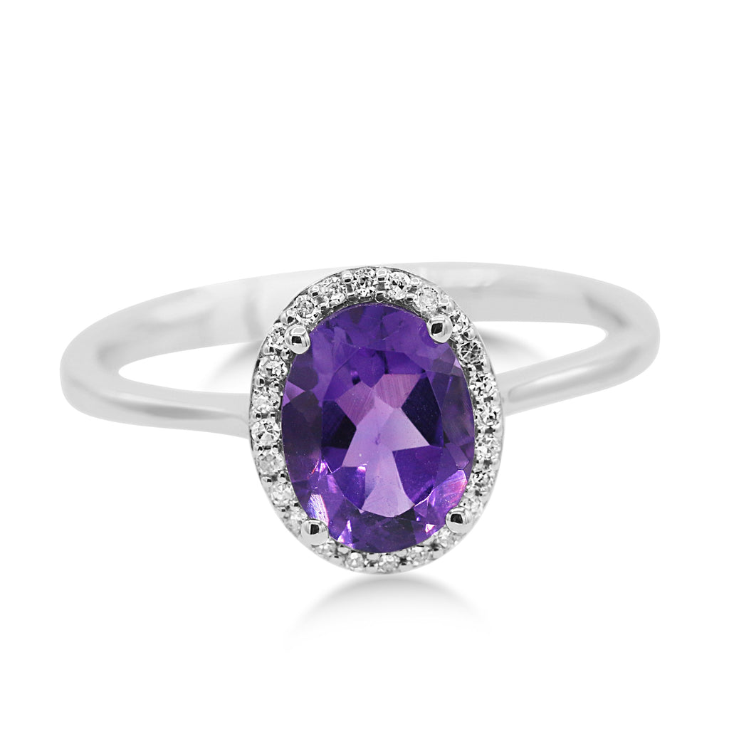 Breathtaking 14K White Gold Amethyst Diamond Ring (1.15ct/0.11ct Carat Diamond Weight)