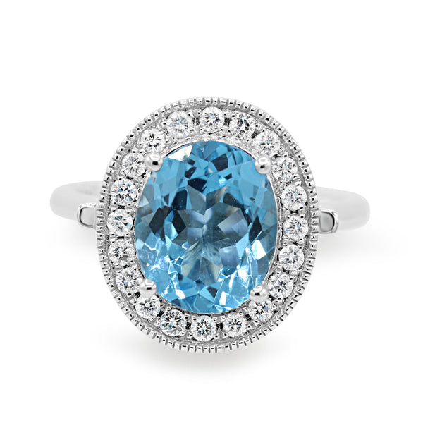 Diamond Blue Topaz White Gold Ring ( 4.35ct dtw )