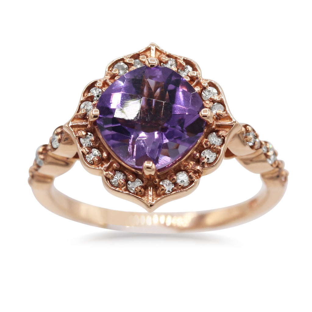 Ravishing 14K Rose Gold Diamond Amethyst Ring (0.25ct Carat Diamond Weight)