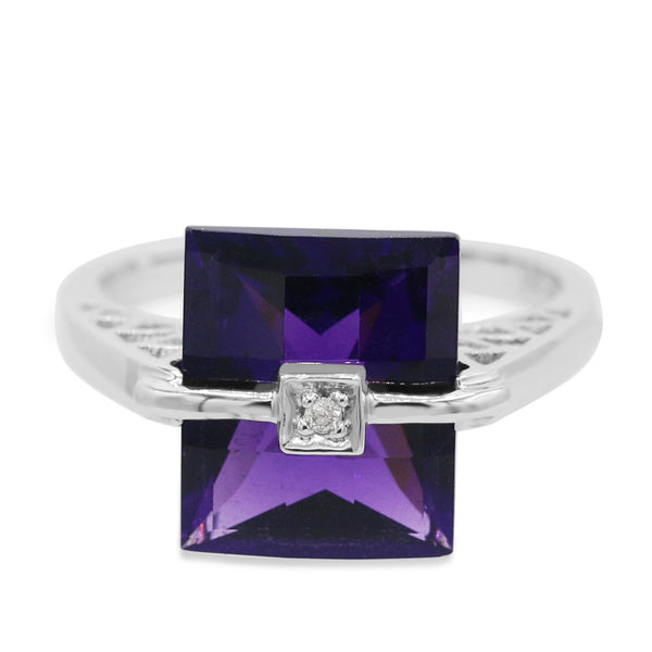 Diamond Amethyst Ring In 14 Karat White Gold