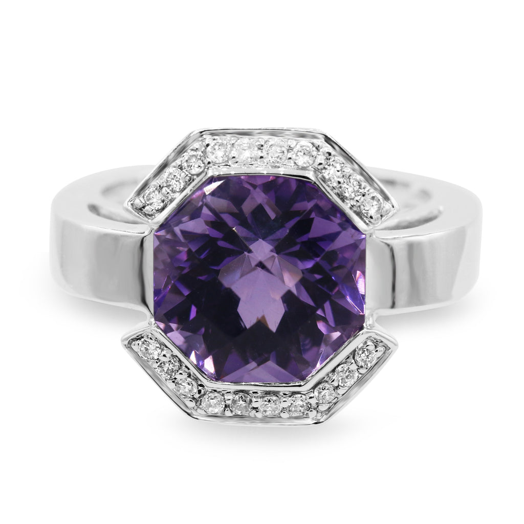 Admirable 14K White Gold Amethyst Diamond Ring (4.93ct/0.18ct Carat Diamond Weight)