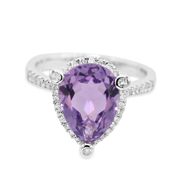 Diamond Amethyst Pear shaped Ring ( 0.26ct dtw )