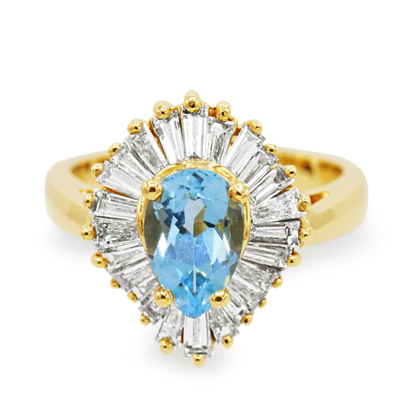Diamond Blue Topaz Ring In 14 Karat Yellow Gold ( 1.75ct tpz tw /1 .55ct dtw )