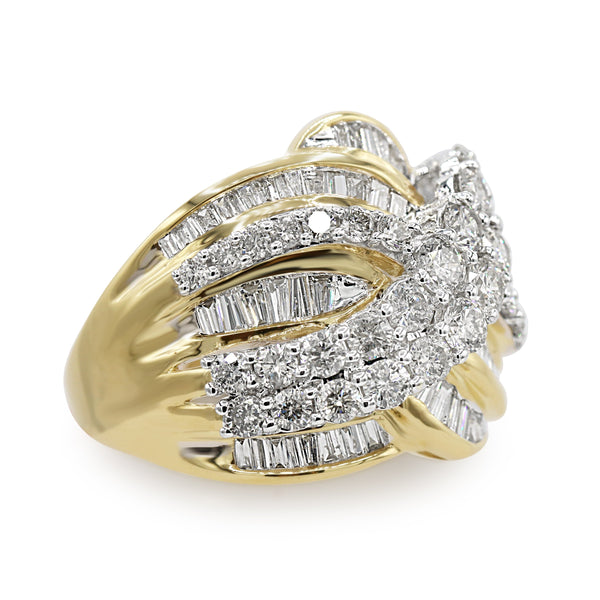Diamond Cluster Overlapping Ring In 10 Karat Yellow Gold ( 3.05ct dtw )