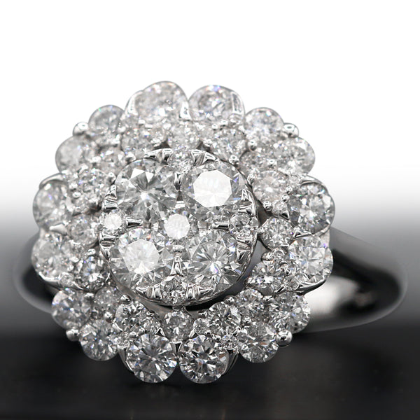 Diamond Cluster Ring In 14 Karat White Gold ( 2.00ct dtw)