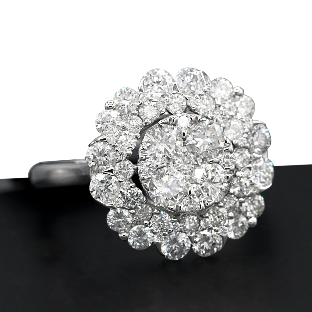 Enchanted 14K White Gold Round Brilliant Cut Cluster Diamond (2.00ct Diamond Carat Weight) Ring